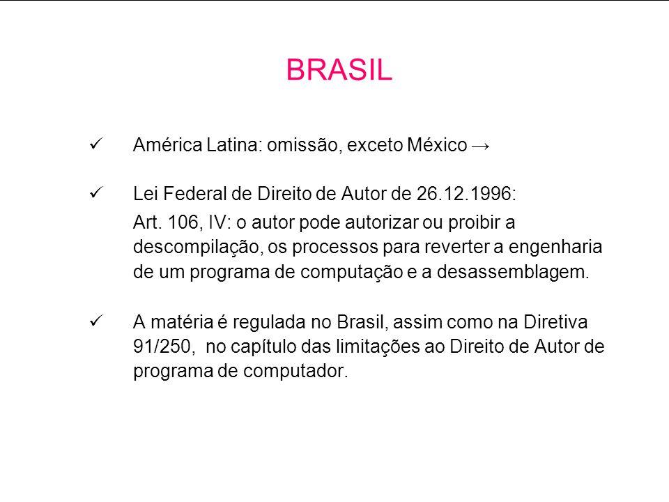 América Latina: omissão, exceto México Lei Federal de Direito de Autor de 26.12.1996: Art.