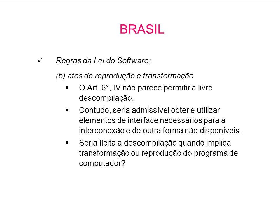 Regras da Lei do Software: (b) atos de reprodução e transformação O Art.