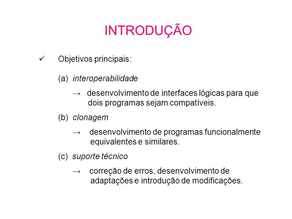 Objetivos principais: (a) interoperabilidade desenvolvimento de interfaces lógicas para que dois programas sejam compatíveis.