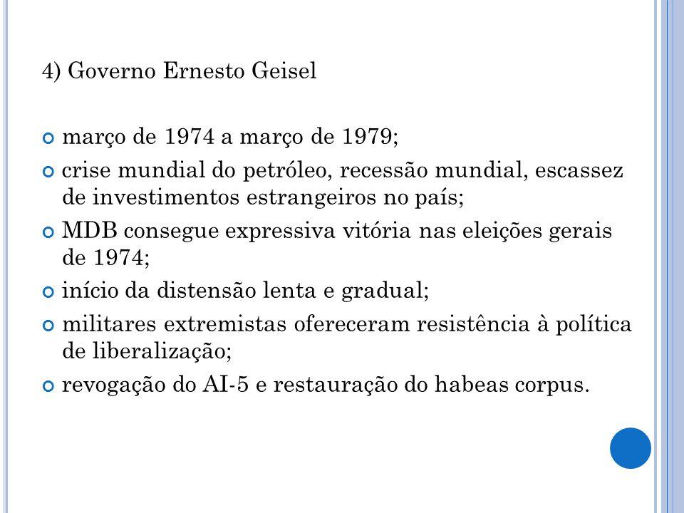 5) Governo João Baptista de Oliveira Figueiredo março de 1979 a março de 1985; aceleração do processo de liberalização política (aprovação da Lei de Anistia); restabelecimento do pluripartidarismo; resistência de militares extremistas; aumento dos índices de inflação; recessão; movimento Diretas Já; Colégio Eleitoral (formado pela Câmara dos Deputados e pelo Senado Federal) escolheu o deputado Tancredo Neves como sucessor, que veio a falecer.
