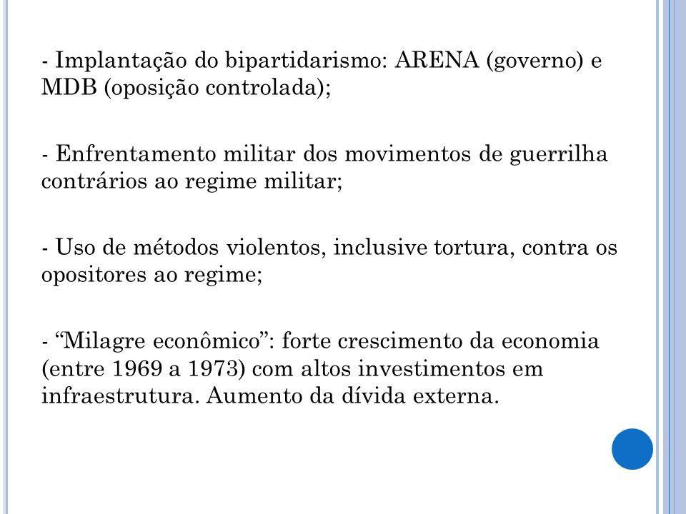 - Implantação do bipartidarismo: ARENA (governo) e MDB (oposição controlada); - Enfrentamento militar dos movimentos de guerrilha contrários ao regime