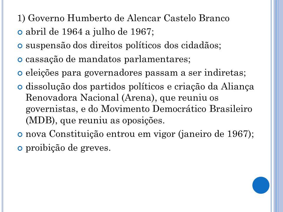 2) Governo Arthur da Costa e Silva março de 1967 a agosto de 1969; enfrentamento da reorganização política dos setores oposicionistas; radicalização das medidas repressivas (promulgação do Ato Institucional nº 5); Costa e Silva foi afastado por motivos de saúde e substituído, durante dois meses, por uma junta militar.