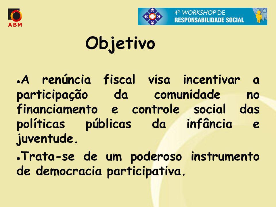 Objetivo A renúncia fiscal visa incentivar a participação da comunidade no financiamento e controle social das políticas públicas da infância e juvent