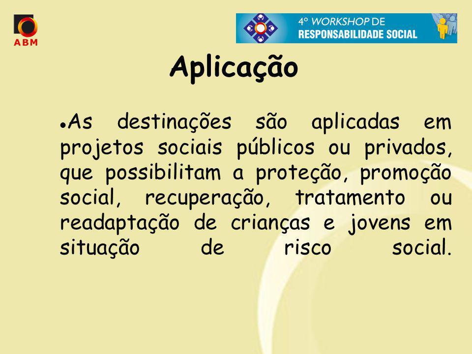 Aplicação As destinações são aplicadas em projetos sociais públicos ou privados, que possibilitam a proteção, promoção social, recuperação, tratamento