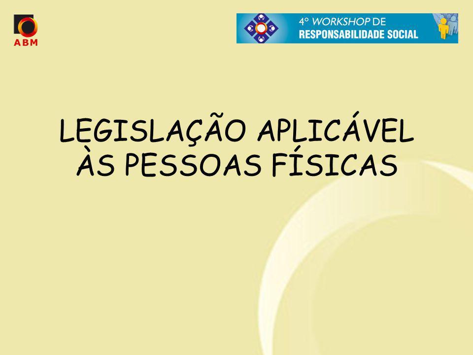LEGISLAÇÃO APLICÁVEL ÀS PESSOAS FÍSICAS