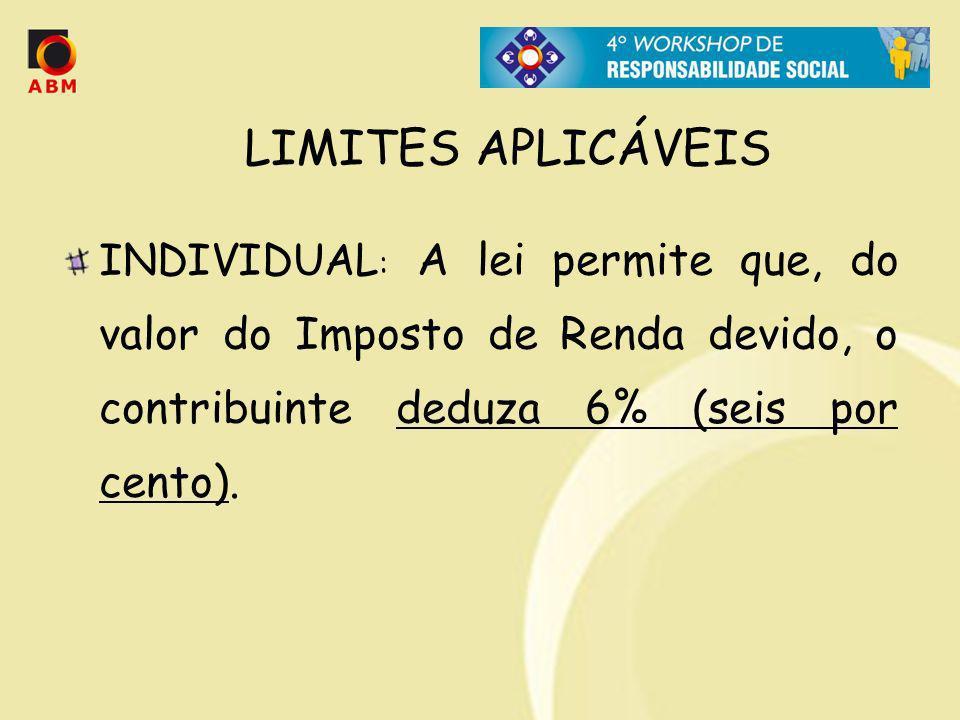 LIMITES APLICÁVEIS INDIVIDUAL : A lei permite que, do valor do Imposto de Renda devido, o contribuinte deduza 6% (seis por cento).
