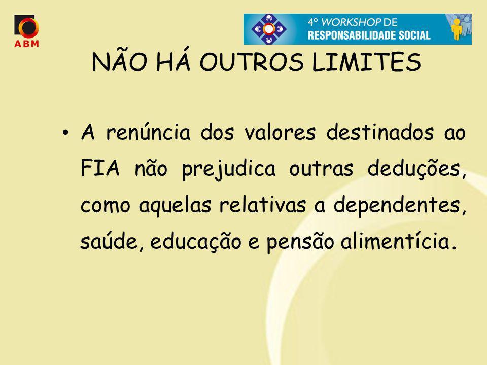 NÃO HÁ OUTROS LIMITES A renúncia dos valores destinados ao FIA não prejudica outras deduções, como aquelas relativas a dependentes, saúde, educação e