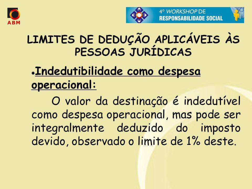 Indedutibilidade como despesa operacional: O valor da destinação é indedutível como despesa operacional, mas pode ser integralmente deduzido do impost