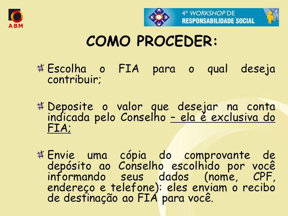 COMO PROCEDER: Escolha o FIA para o qual deseja contribuir; Deposite o valor que desejar na conta indicada pelo Conselho – ela é exclusiva do FIA; Env