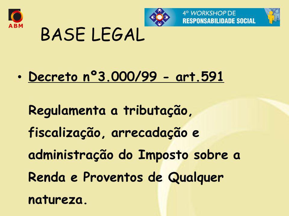 BASE LEGAL Decreto nº3.000/99 - art.591 Regulamenta a tributação, fiscalização, arrecadação e administração do Imposto sobre a Renda e Proventos de Qu