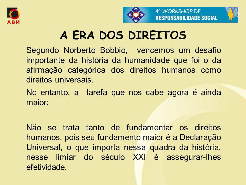 A ERA DOS DIREITOS Segundo Norberto Bobbio, vencemos um desafio importante da história da humanidade que foi o da afirmação categórica dos direitos hu