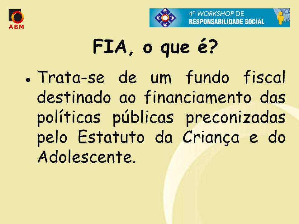 FIA, o que é? Trata-se de um fundo fiscal destinado ao financiamento das políticas públicas preconizadas pelo Estatuto da Criança e do Adolescente.