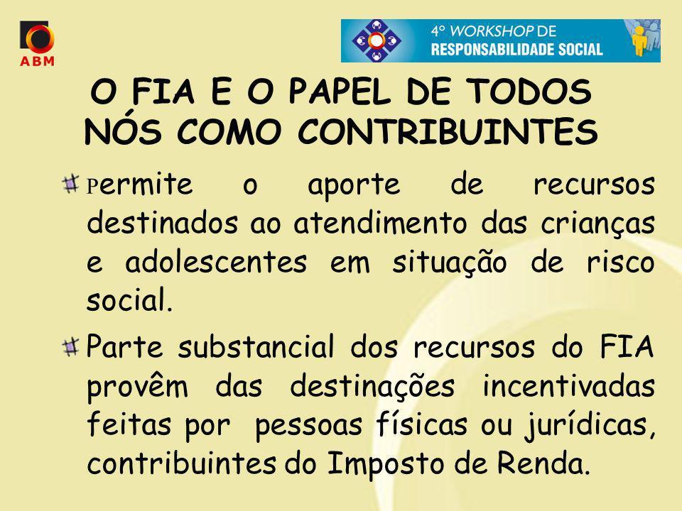O FIA E O PAPEL DE TODOS NÓS COMO CONTRIBUINTES P ermite o aporte de recursos destinados ao atendimento das crianças e adolescentes em situação de ris