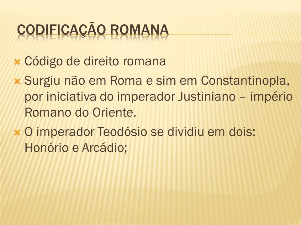 Código de direito romana Surgiu não em Roma e sim em Constantinopla, por iniciativa do imperador Justiniano – império Romano do Oriente. O imperador T