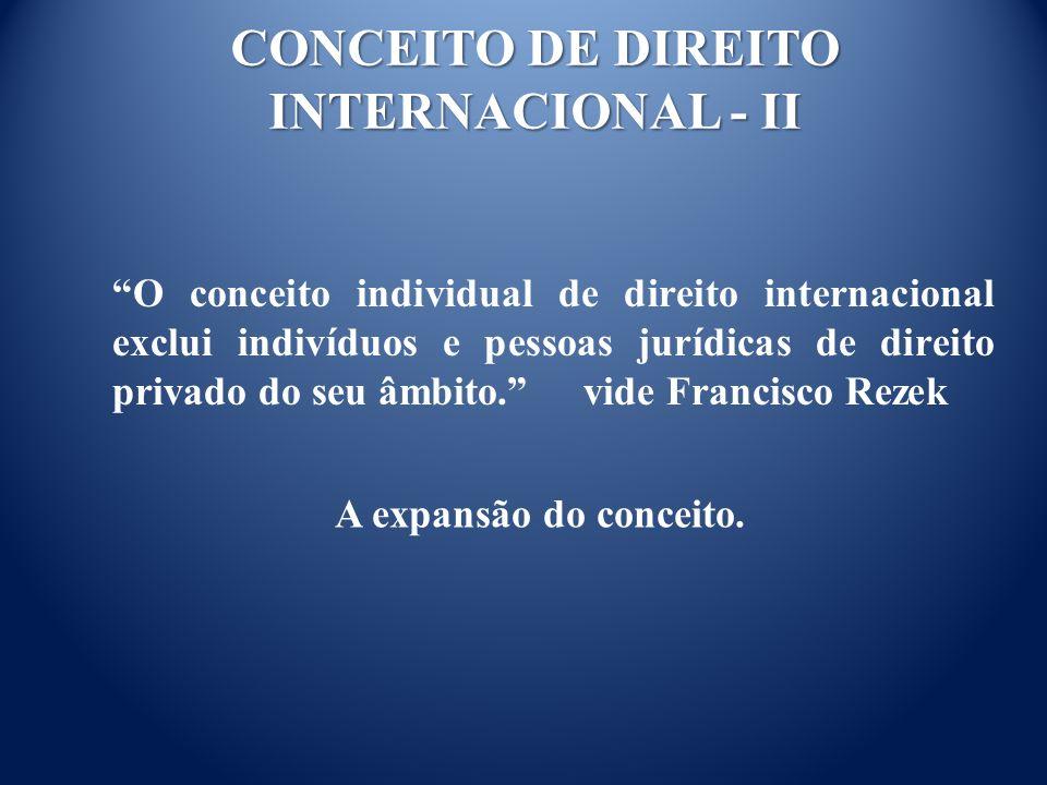 CONCEITO DE DIREITO INTERNACIONAL - II O conceito individual de direito internacional exclui indivíduos e pessoas jurídicas de direito privado do seu âmbito.