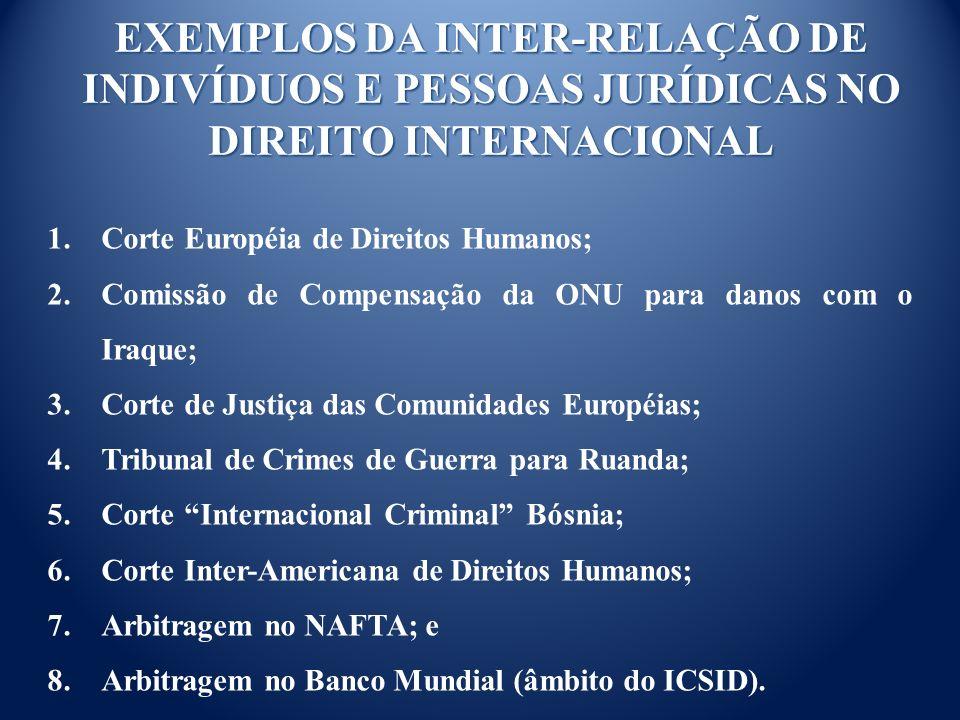 EXEMPLOS DA INTER-RELAÇÃO DE INDIVÍDUOS E PESSOAS JURÍDICAS NO DIREITO INTERNACIONAL 1.Corte Européia de Direitos Humanos; 2.Comissão de Compensação da ONU para danos com o Iraque; 3.Corte de Justiça das Comunidades Européias; 4.Tribunal de Crimes de Guerra para Ruanda; 5.Corte Internacional Criminal Bósnia; 6.Corte Inter-Americana de Direitos Humanos; 7.Arbitragem no NAFTA; e 8.Arbitragem no Banco Mundial (âmbito do ICSID).