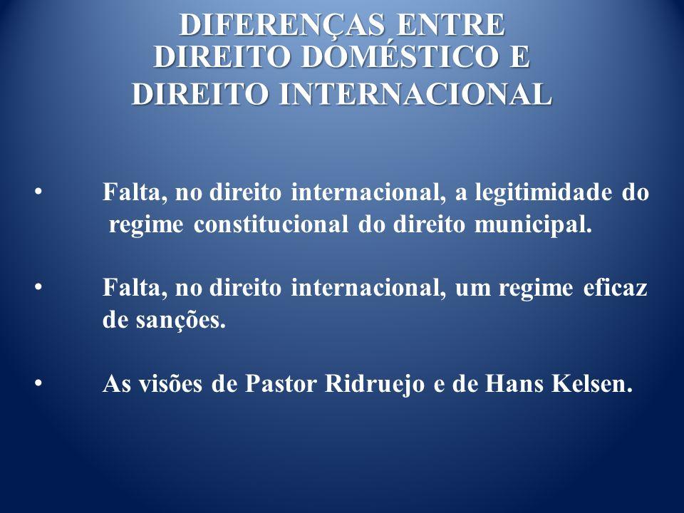 DIFERENÇAS ENTRE DIREITO DOMÉSTICO E DIREITO INTERNACIONAL Falta, no direito internacional, a legitimidade do regime constitucional do direito municipal.