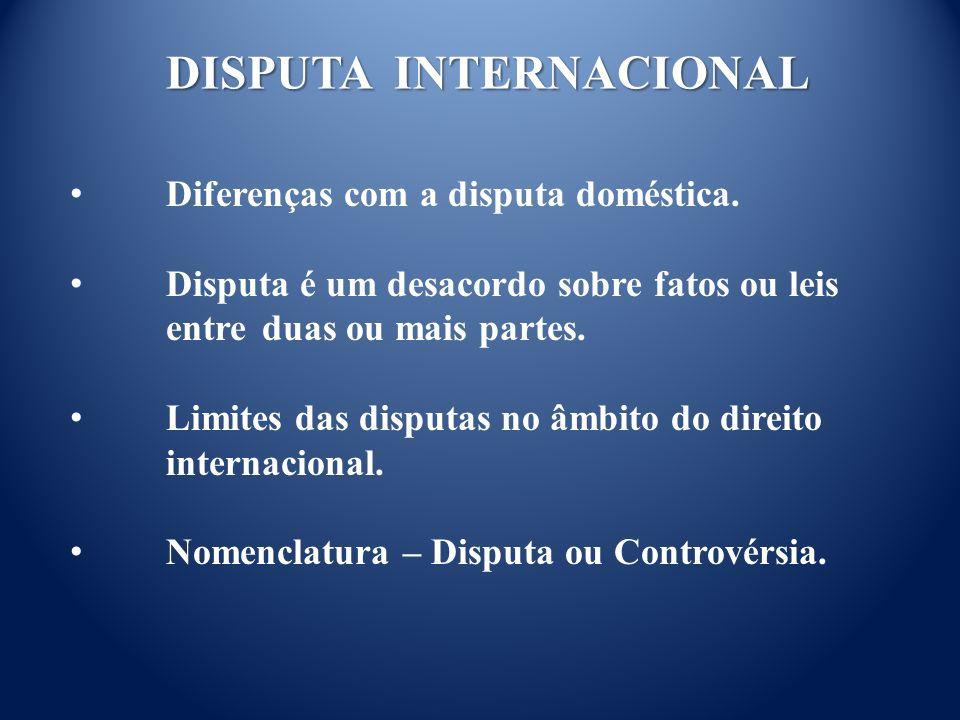 DISPUTA INTERNACIONAL Diferenças com a disputa doméstica.