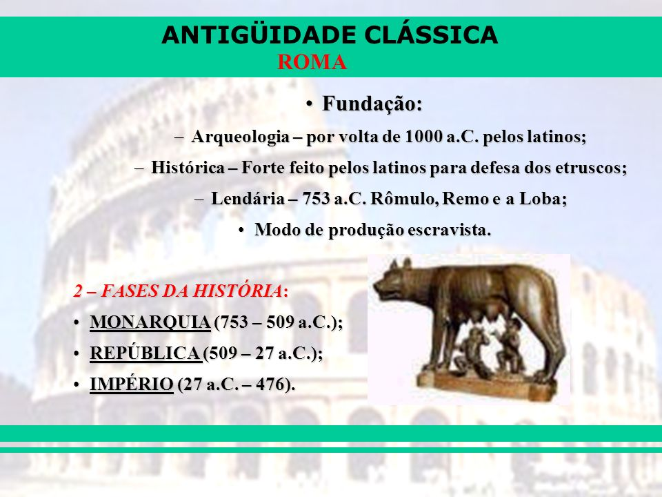 ANTIGÜIDADE CLÁSSICA ROMA Fundação:Fundação: –Arqueologia – por volta de 1000 a.C.