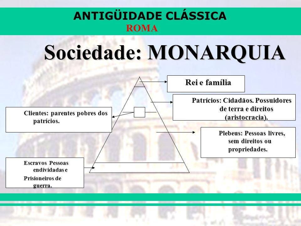 ANTIGÜIDADE CLÁSSICA ROMA Sociedade: MONARQUIA Rei e família Patrícios: Cidadãos.