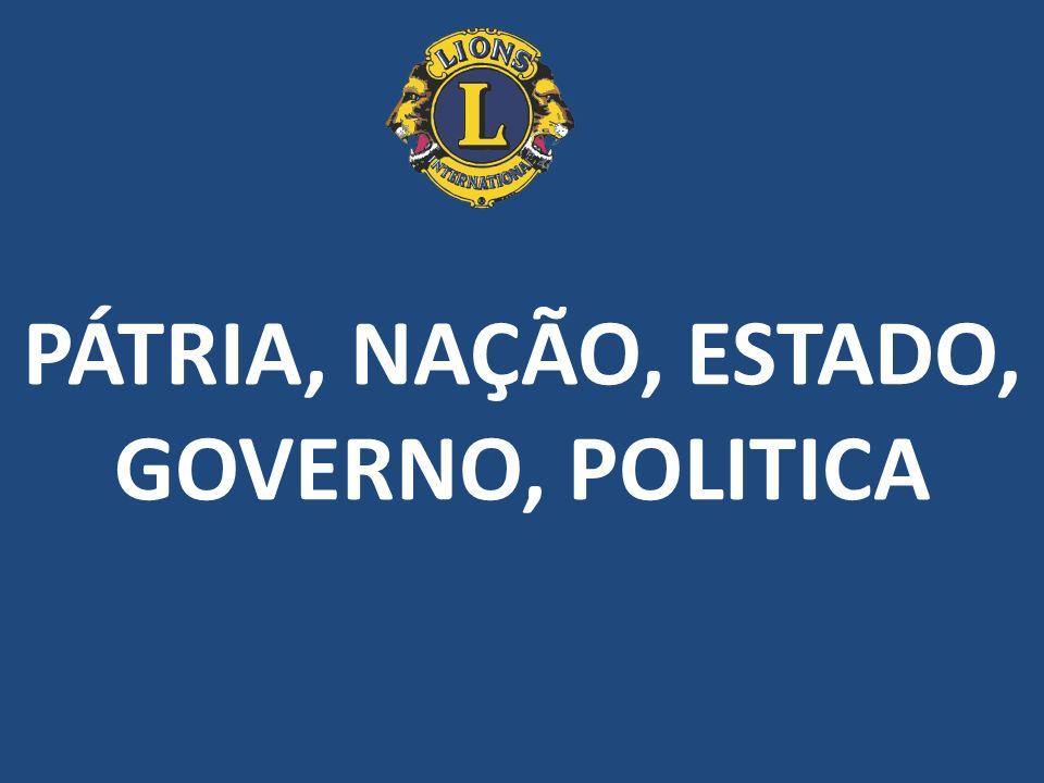 PÁTRIA, NAÇÃO, ESTADO, GOVERNO, POLITICA
