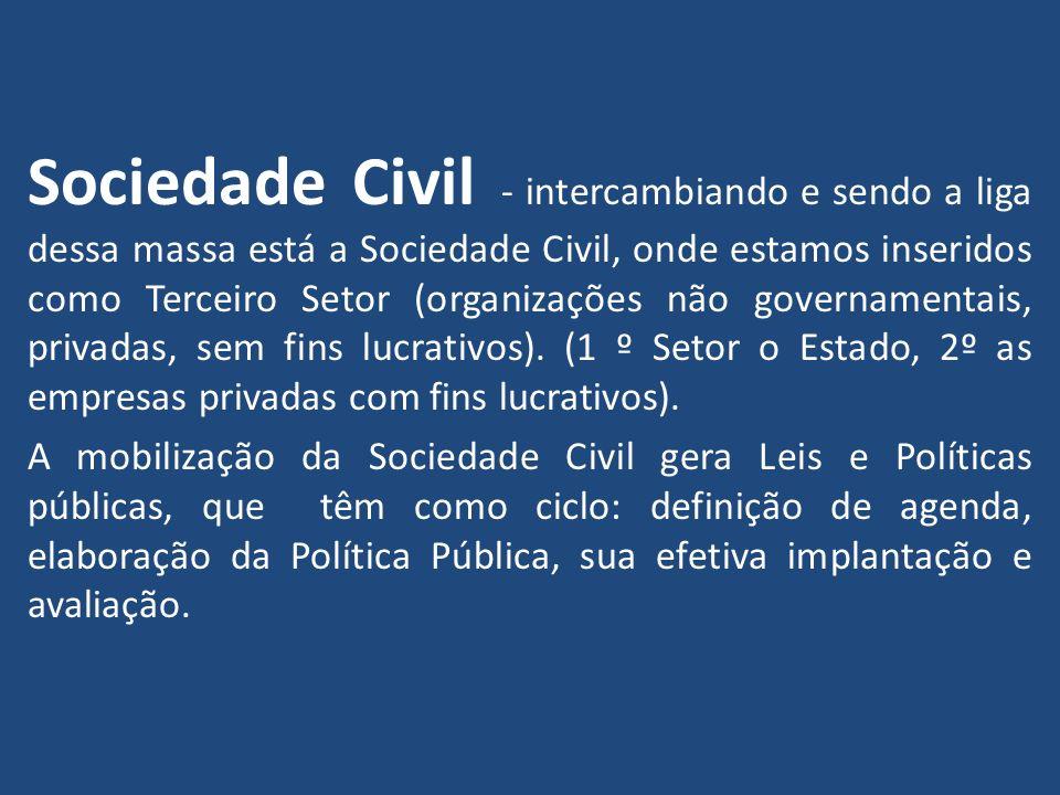 Sociedade Civil - intercambiando e sendo a liga dessa massa está a Sociedade Civil, onde estamos inseridos como Terceiro Setor (organizações não gover