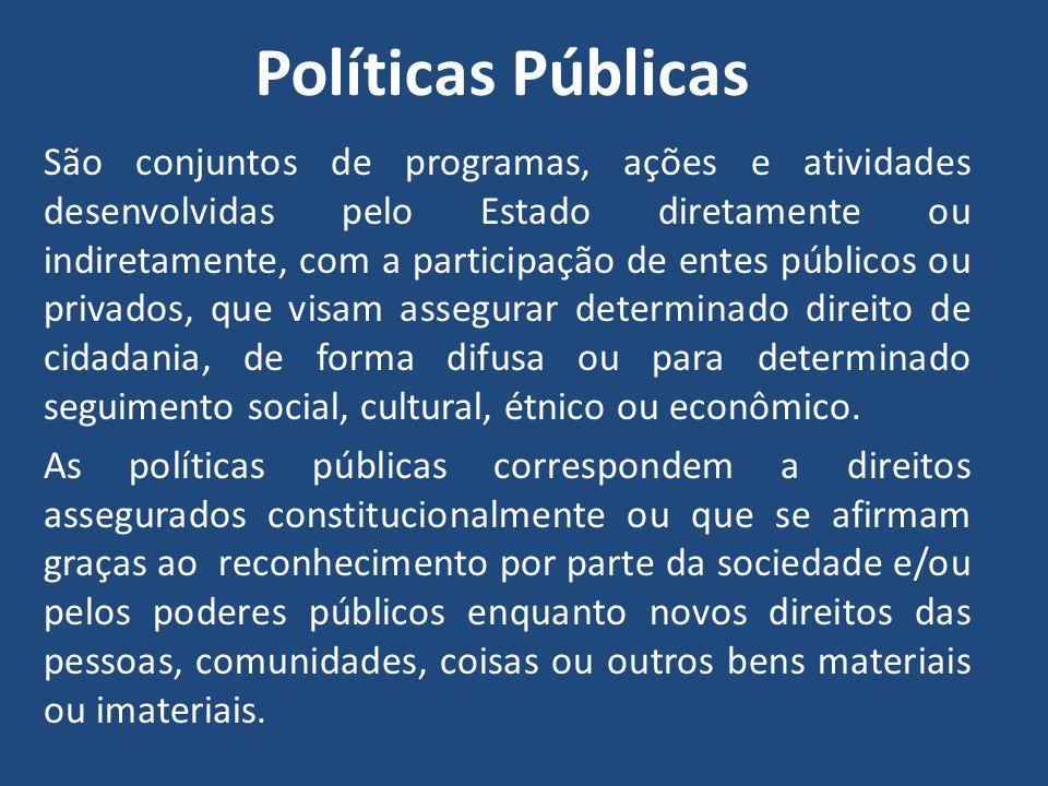 Políticas Públicas São conjuntos de programas, ações e atividades desenvolvidas pelo Estado diretamente ou indiretamente, com a participação de entes