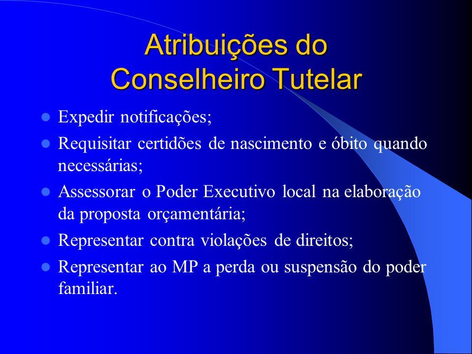 Atribuições do Conselheiro Tutelar Representar à autoridade judiciária em casos de descumprimento de suas deliberações; Encaminhar ao Ministério Públi
