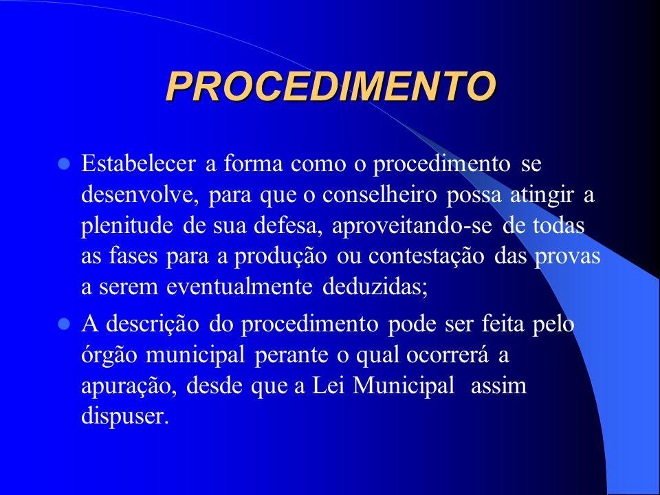 APURAÇÃO DA FALTA DE DECORO A formalização dos procedimentos garante a instrumentalização das garantias constitucionais: a) com a identificação objeti