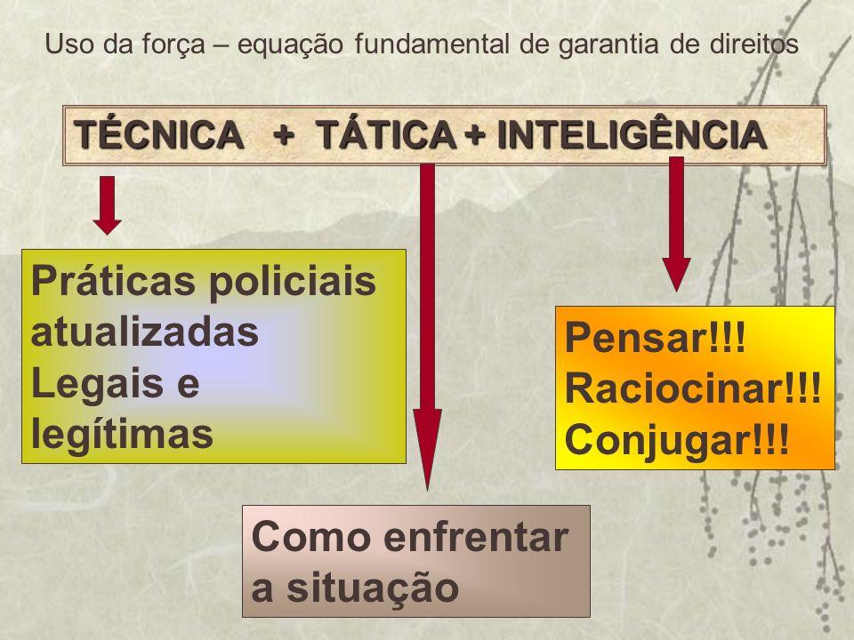 TÉCNICA + TÁTICA + INTELIGÊNCIA Práticas policiais atualizadas Legais e legítimas Como enfrentar a situação Pensar!!! Raciocinar!!! Conjugar!!! Uso da