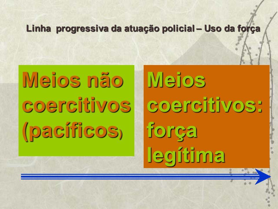 Meios não coercitivos (pacíficos ) Meios coercitivos: força legítima Linha progressiva da atuação policial – Uso da força