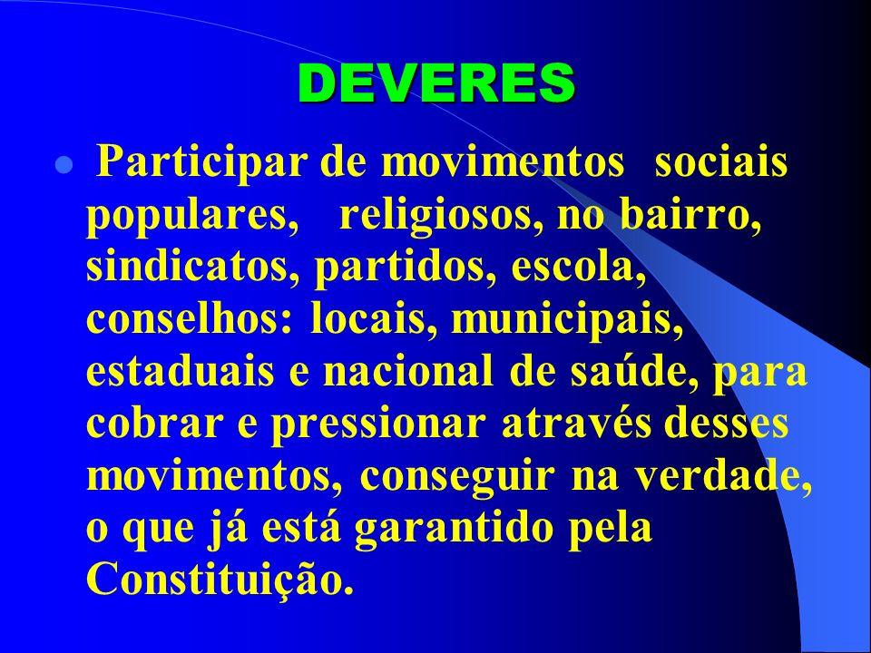 DEVERES Participar de movimentos sociais populares, religiosos, no bairro, sindicatos, partidos, escola, conselhos: locais, municipais, estaduais e na
