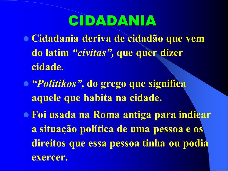 CIDADANIA Cidadania deriva de cidadão que vem do latim civitas, que quer dizer cidade. Politikos, do grego que significa aquele que habita na cidade.