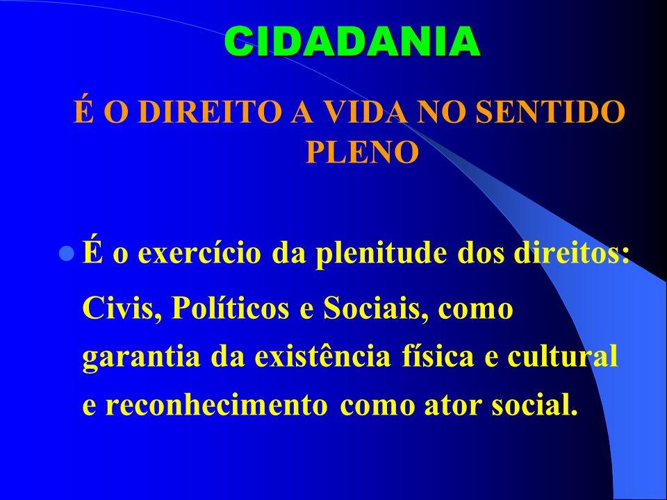 CIDADANIA É O DIREITO A VIDA NO SENTIDO PLENO É o exercício da plenitude dos direitos: Civis, Políticos e Sociais, como garantia da existência física e cultural e reconhecimento como ator social.