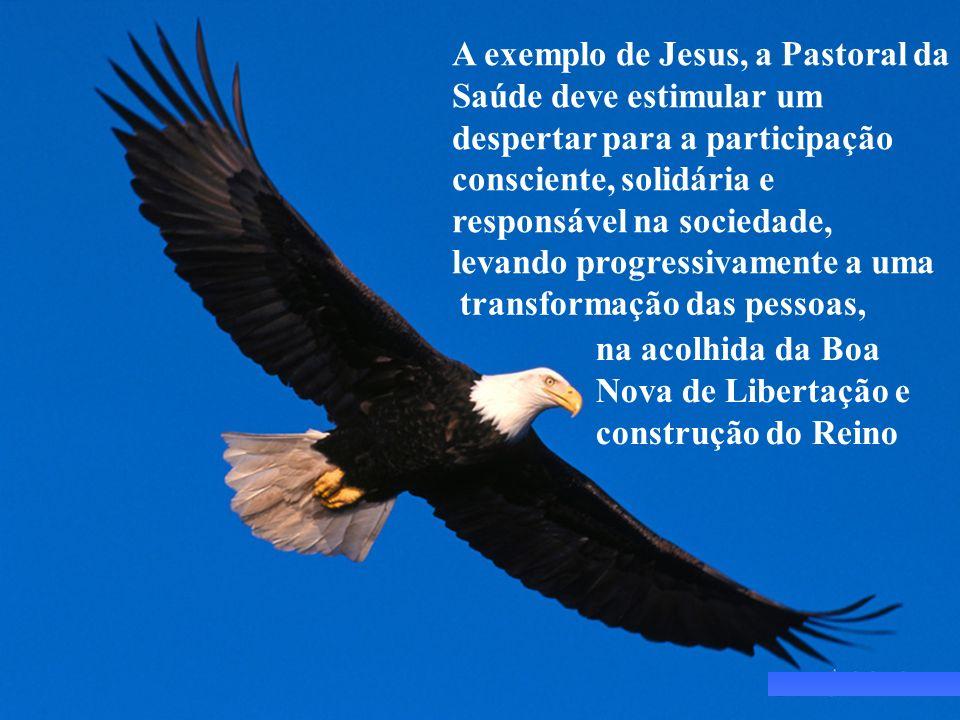 A exemplo de Jesus, a Pastoral da Saúde deve estimular um despertar para a participação consciente, solidária e responsável na sociedade, levando prog