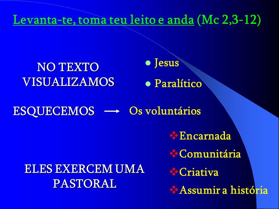 Levanta-te, toma teu leito e anda (Mc 2,3-12) NO TEXTO VISUALIZAMOS Jesus Paralítico ESQUECEMOS Os voluntários ELES EXERCEM UMA PASTORAL Encarnada Comunitária Criativa Assumir a história