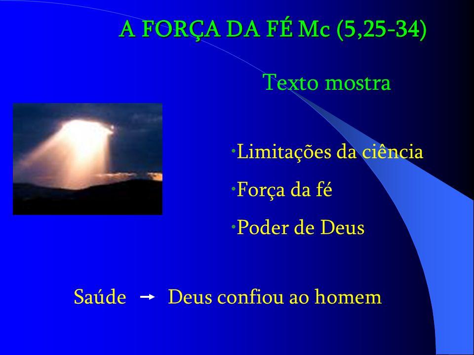 A FORÇA DA FÉ Mc (5,25-34) Texto mostra Limitações da ciência Força da fé Poder de Deus Saúde Deus confiou ao homem