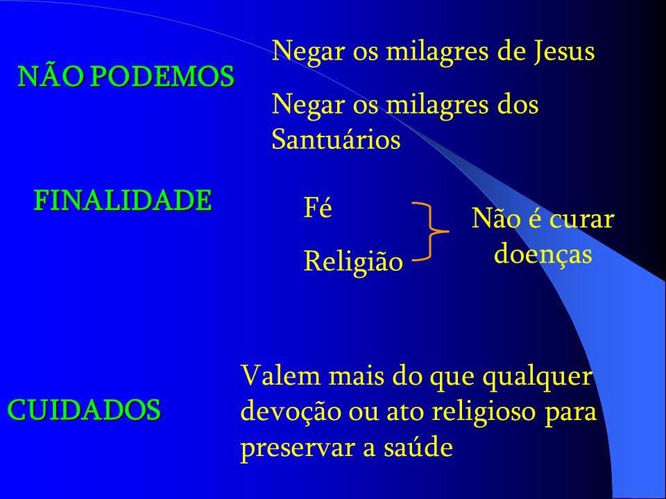 NÃO PODEMOS Negar os milagres de Jesus Negar os milagres dos Santuários FINALIDADE Fé Religião Não é curar doenças CUIDADOS Valem mais do que qualquer devoção ou ato religioso para preservar a saúde