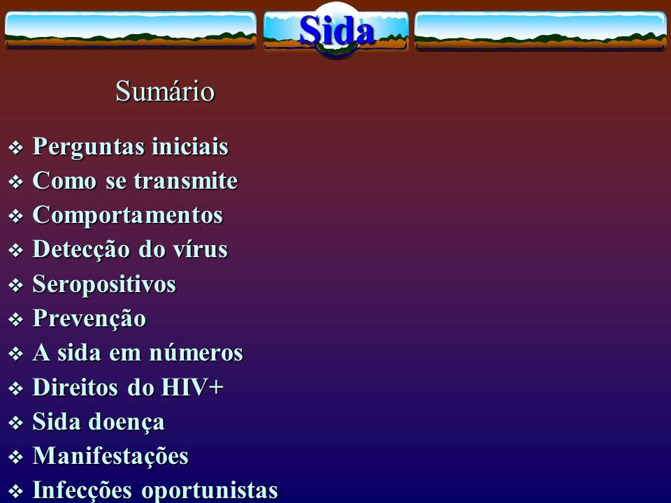 Perguntas iniciais Perguntas iniciais Como se transmite Como se transmite Comportamentos Comportamentos Detecção do vírus Detecção do vírus Seropositi