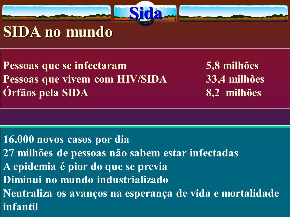 Pessoas que se infectaram5,8 milhões Pessoas que vivem com HIV/SIDA33,4 milhões Órfãos pela SIDA 8,2 milhões 16.000 novos casos por dia 27 milhões de pessoas não sabem estar infectadas A epidemia é pior do que se previa Diminui no mundo industrializado Neutraliza os avanços na esperança de vida e mortalidade infantilSida SIDA no mundo