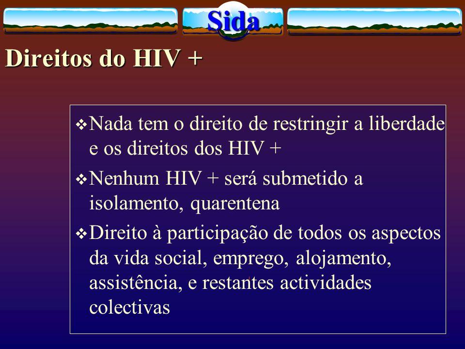 Direitos do HIV + Nada tem o direito de restringir a liberdade e os direitos dos HIV + Nenhum HIV + será submetido a isolamento, quarentena Direito à