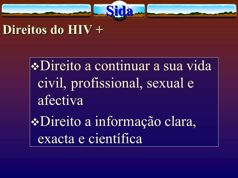 Direito a continuar a sua vida civil, profissional, sexual e afectiva Direito a informação clara, exacta e científicaSida Direitos do HIV +