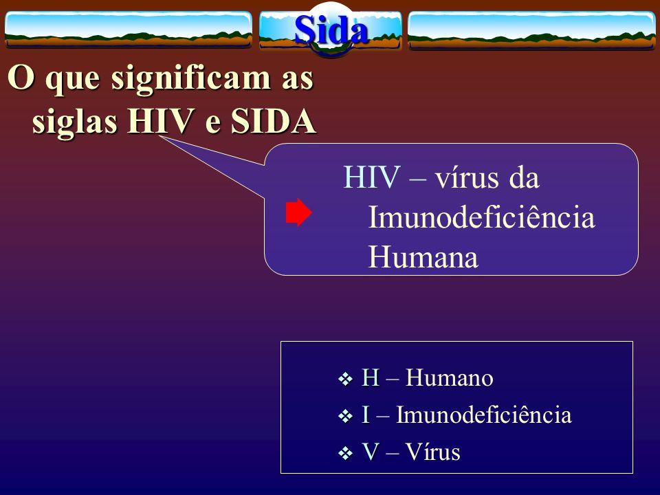 O que significam as siglas HIV e SIDA HIV – vírus da Imunodeficiência Humana H H – Humano I I – Imunodeficiência V V – VírusSida