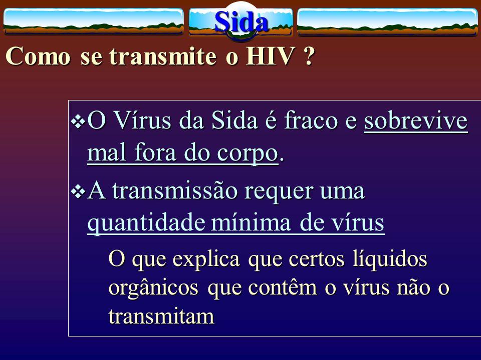 Como se transmite o HIV ? O Vírus da Sida é fraco e sobrevive mal fora do corpo. O Vírus da Sida é fraco e sobrevive mal fora do corpo. A transmissão