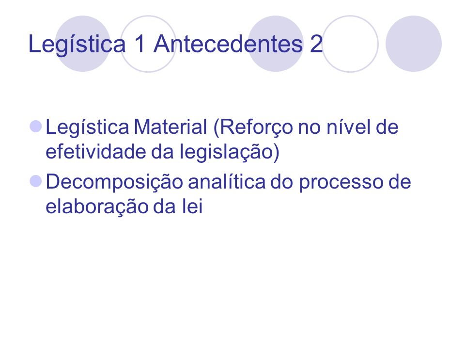 Legística 1 Antecedentes 2 Legística Material (Reforço no nível de efetividade da legislação) Decomposição analítica do processo de elaboração da lei