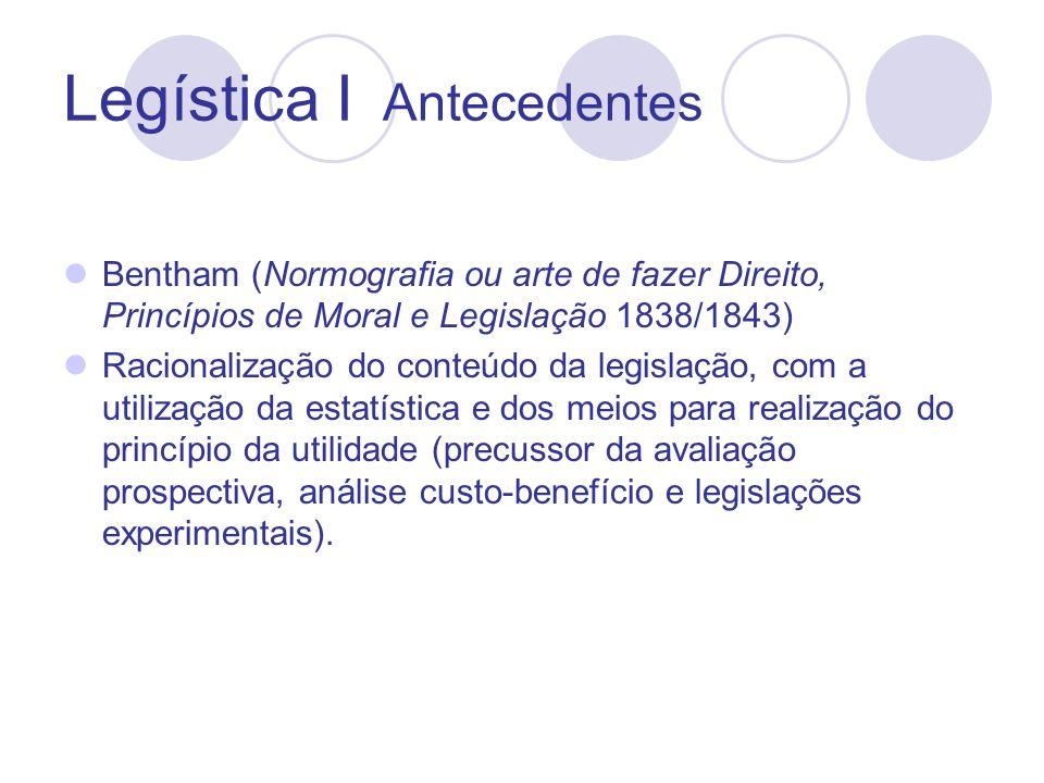Legística I Antecedentes Filangieri ( Ciência da Legislação, 1788) Criação da figura do censor da lei encarregado de remediar a multiplicidade de leis e de adaptá-las às mudanças.