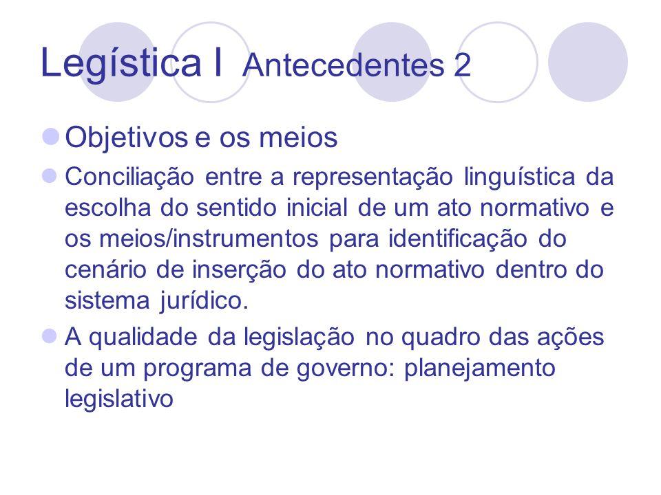Legística I Antecedentes 2 Objetivos e os meios Conciliação entre a representação linguística da escolha do sentido inicial de um ato normativo e os meios/instrumentos para identificação do cenário de inserção do ato normativo dentro do sistema jurídico.