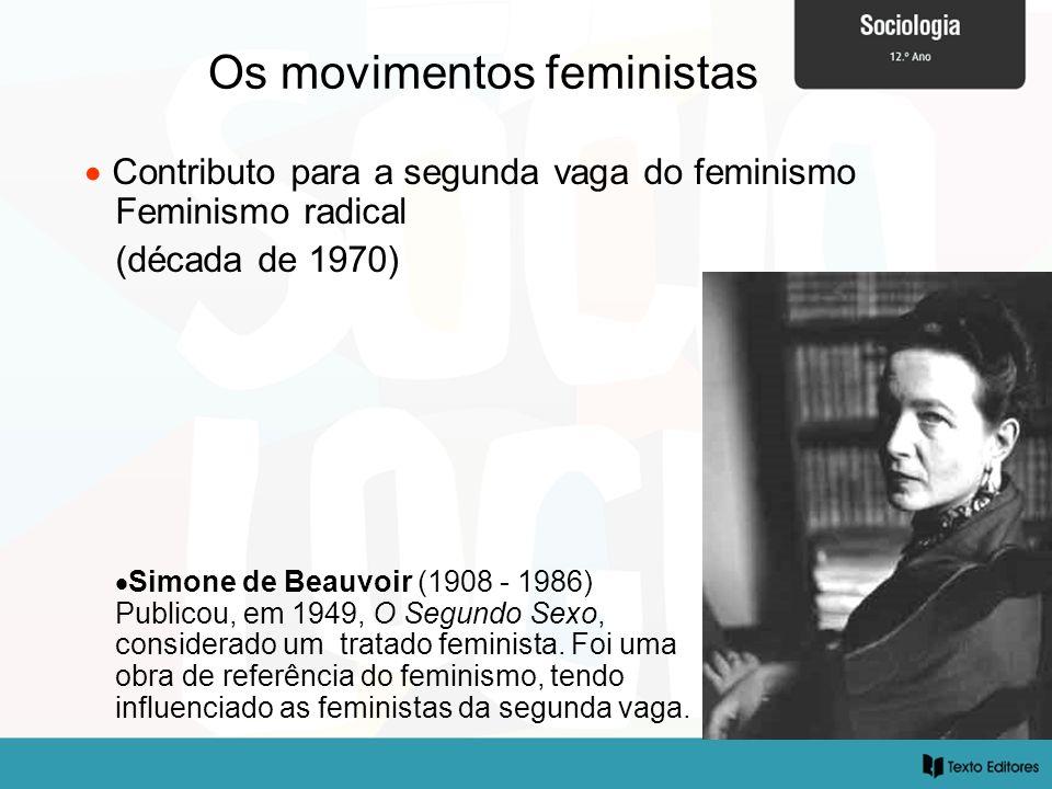 Os movimentos feministas Contributo para a segunda vaga do feminismo Feminismo radical (década de 1970) Simone de Beauvoir (1908 - 1986) Publicou, em