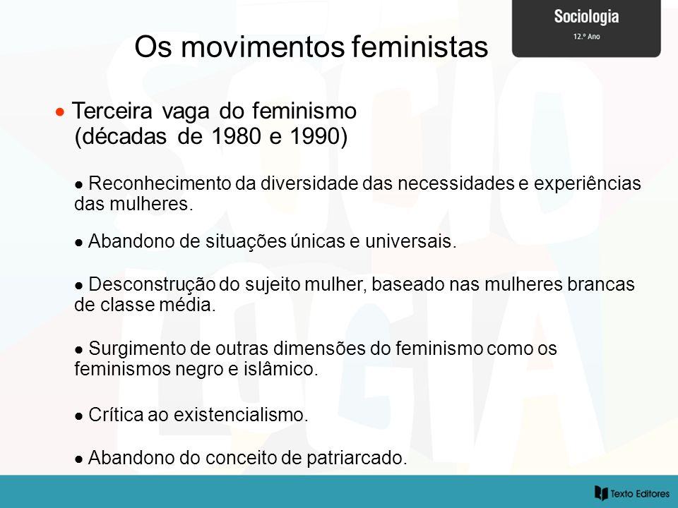 Os movimentos feministas Terceira vaga do feminismo (décadas de 1980 e 1990) Abandono do conceito de patriarcado. Reconhecimento da diversidade das ne