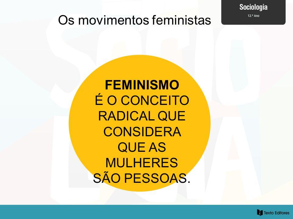 Os movimentos feministas FEMINISMO É O CONCEITO RADICAL QUE CONSIDERA QUE AS MULHERES SÃO PESSOAS.